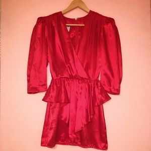 VTG 80's Red Satin Cocktail Dress